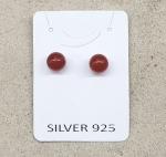 3 Paar Carneol Ohrstecker ca. 8 mm auf 925 Silber