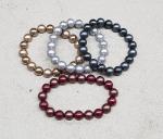 Perlen Armband aus Muschelkern poliert / gefrostet ca. 10 mm / ca. 19 cm