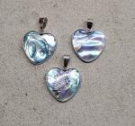 3er Set Abalone Herz Anhänger klein an Öse ca. 32 x 23 mm