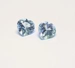 2 st. Topas Blau Herz facettiert ca. 5 x 5 mm /  ca. 0,9 - 1,1 ct / 2 st.