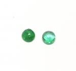 2 x Smaragd rund Cabochon - ca. 3 mm