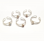 5er Set Zehenringe teilw. mit Zirkonia versch. Designs 925 Silber 4-5 mm breit