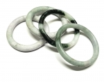 3 x Jadeit Armreif komplett abgerundet ca. 55-65 mm Innendurchmesser / 8-12 mm breit