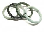 3 x Jadeit Armreif halbrund ca. 55-70 mm Innendurchmesser / 10-15 mm breit