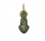 Jadeit Buddha Anhänger an Öse ca. 57 x 19 mm