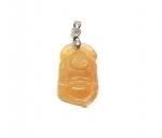 Jadeit Anhänger gelb-orange Buddha an Öse ca. 35 x 15 mm - Einzelstück