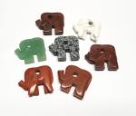 7 x Elefant Anhänger für Lederbänder ca. 40 x 35 mm - Sonderposten