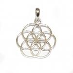 7 Kreise Blume des Lebens Anhänger aus 925 Silber ca. 27x20 mm