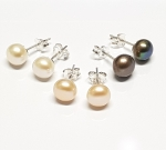 3 Paar Perlen Ohrstecker (Süßwasserzuchtperlen)  ca. 7 mm auf 925 Silber