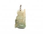 Jadeit Buddha Anhänger an Öse ca. 45 x 20 mm - Einzelstück