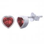 Ohrstecker mit rotem Herz aus Zirkonia ca. 6x6 mm auf 925 Silber