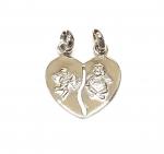 Amor Herz Anhänger aus 925 Silber mit Sollbruchstelle und 2 Ösen ca. 23 x 18 mm