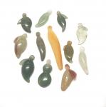 5er Set Blätter / Frucht Anhänger aus Jadeit ( Jade ) ca. 15-35 mm