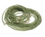 grüner Apatit Kugelkette facettiert ca. 2,5 -3 mm / ca. 45 cm mit Silberkarabiner