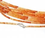 Carneol multicolor Kugelkette facettiert ca. 2,5 -3 mm / ca. 45 cm mit Silberkarabiner