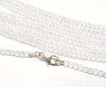 weißer Topas Kugelkette facettiert ca. 3 mm / ca. 45 cm mit Silberkarabiner