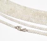 weißer Mondstein Kugelkette facettiert ca. 3 mm / ca. 45 cm mit Silberkarabiner
