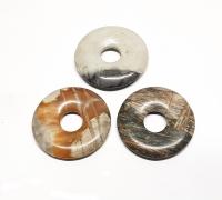 3er Set Picasso - Jaspis  Donut Anhänger ca. 30 mm / ca. 8 mm Bohrung