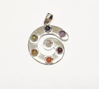 SpiraleAnhängermit 7 Edelstein - Cabochons in 925 Silber ca. 40 x 28 mm