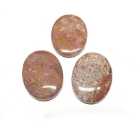 3er Set JaspisAnhänger oval ca. 40x30 mm / ca. 1 mm Querbohrung