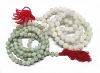 Mala aus heller Jade ( Jadeit ) 108 Perlen ca. 9-12 mm ca. 100-125 cm