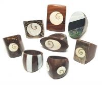 5er Set Fingerringe aus Holz mit Einlegearbeit - versch. Varianten