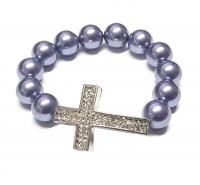 Perlen Armband aus Muschelkern mit Kreuz ca. 12 mm / ca. 19 cm