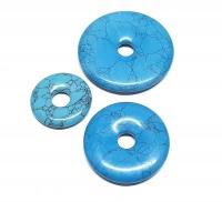 3er Set 50 mm Türkis (Rekonstruiert) - Donut - Anhänger
