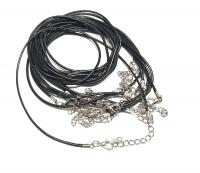 10er Set Halsband ( Wachsband ) schwarz ca. 1,5 mm / ca. 45 bis 50 cm mit Verlängerungskette