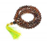 Mala aus Bernstein 108 Perlen ca. 8-9 mm ca. 85 cm A/B unrunde Perlen einzelne abgeflacht