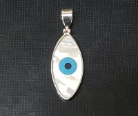 PerlmuttAnhänger Auge  in 925 Silber gefasst ca. 50 x 18 mm