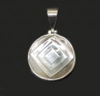 Muschel- Anhängergraviert in 925 Silber gefasst ca. 40 x 27 mm