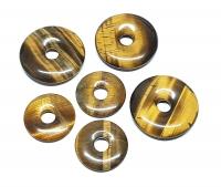 3er Set 30 mm Tigerauge gold Donut Anhänger
