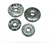 3er Set 30 mm Schneeflockenobsidian Donut - Anhänger