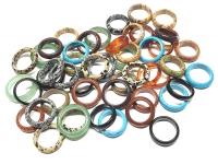 50 Steinringe - bunte Mischung ca. 5-6 mm breit / diverse Größen