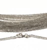 Labradorit Kugelkettefacettiert ca. 2mm/ ca. 45 cm mit Silberkarabiner