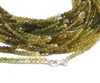 Turmalin grün Kugelkette facettiert ca. 2,5-3 mm/ ca. 45 cm mit 925 Silberkarabiner