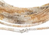 Goldrutil- / Turmalinquarz Mix Kugelkettefacettiert ca. 2,5-3 mm/ ca. 45 cm mit Silberkarabiner