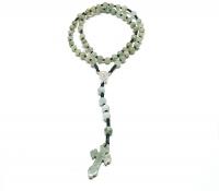 Rosenkranz aus Jade ( Jadeit ) 59 Perlen ca. 6-8 mm ca. 54-58 cmmit graviertem Kreuz