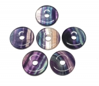 3er Set 30 mm Fluorit Regenbogen Donut - Anhänger