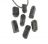 5er Set Schörl Kristall Anhänger gebohrt - schwarzer Turmalin