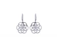 7 Kreise Blume des lebens Ohrhänger aus 925 Silber ca. 25 x 15 mm