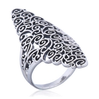 filigraner Fingerring aus 925 Silber lange Form ca. 40 x 20 mm