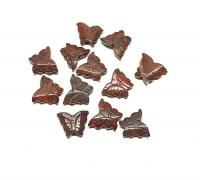 12er Set kleine Schmetterling Perle für Halsketten aus Breckzienjaspsis ca. 15 mm / 1 mm Bohrung