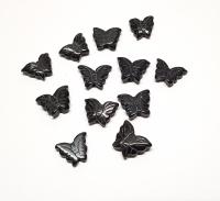 12er Set kleine Schmetterling Perle für Halsketten aus Onyx ca. 15 mm / 1 mm Bohrung