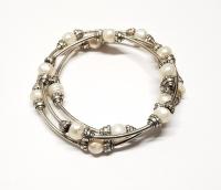 Perlen Armband aus Zuchtperlen flexibel dreireihig ca. 8 mm / ca. 60 cm
