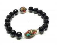 Multi Tibet Armband mit Onyx / Tibetperlen ca.10 mm / ca.20 cm