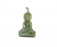 Jadeit Buddha Anhänger an Öse ca. 48 x 25 mm - Einzelstück