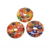 3er Set 30 mm bunte Blumen ( synthetisch ) - Donut - Anhänger