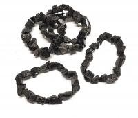 schwarzer Turmalin / Schörl Armband roh mit Kristallen ca. 19 cm